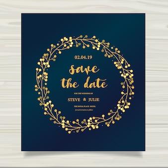 Tarjeta de boda azul con detalles dorados