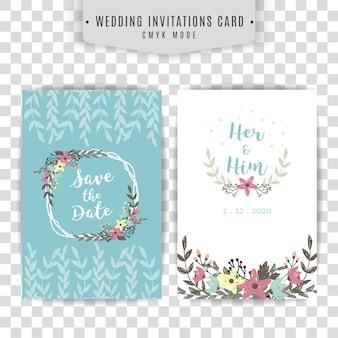 Tarjeta de boda azul y blanca con diseño floral