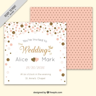Tarjeta de boda bonita con confeti