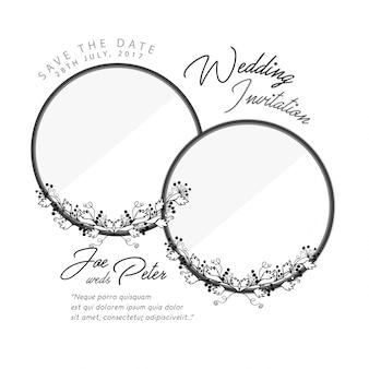 Tarjeta de boda con anillos florales