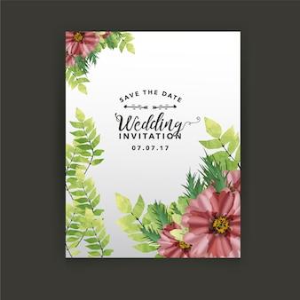 Tarjeta de boda con diseño floral
