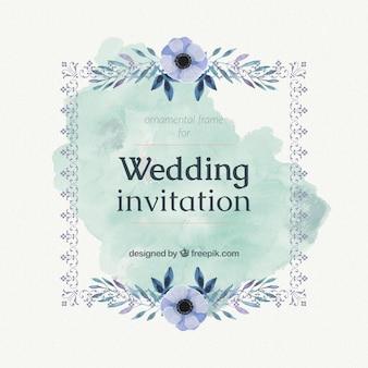 Tarjeta de boda con flores de acuarela azules