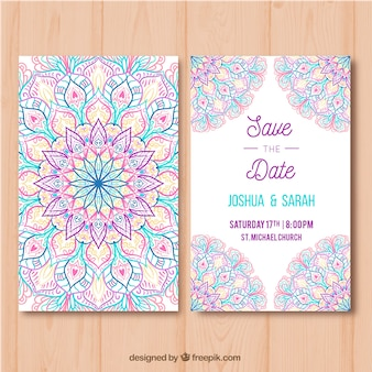 Tarjeta de boda con mandala multicolor