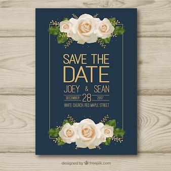 Tarjeta de boda con rosas blancas