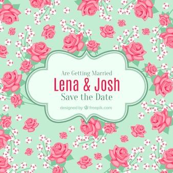 Tarjeta de boda con rosas