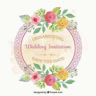 Tarjeta de boda de marco redondo con flores