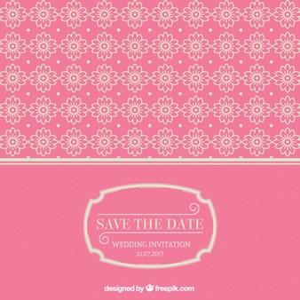 Tarjeta de boda rosa con ornamentos