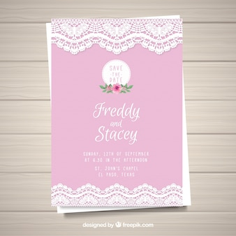 Tarjeta de boda rosa
