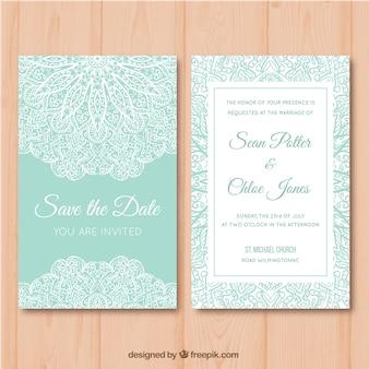 Tarjeta de boda verde y blanca con diseño de mandala