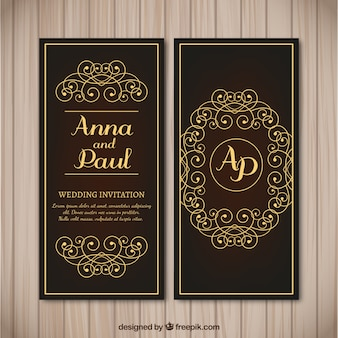 Tarjeta de boda vintage con detalles dorados