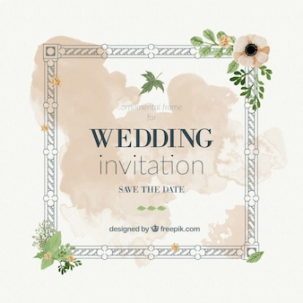 Tarjeta de boda vintage con marco y salpicaduras de acuarela