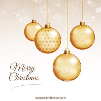 Tarjeta de bolas de navidad doradas