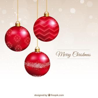 Tarjeta de bolas de navidad rojas