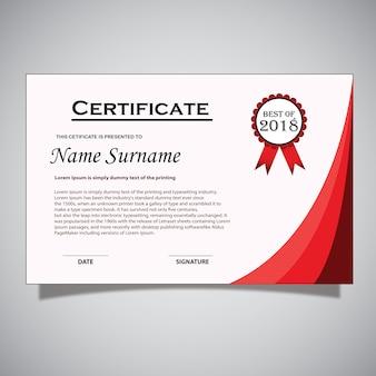 Tarjeta de Certificado Rojo y Blanco