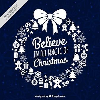 Tarjeta de corona navideña con inspirador mensaje