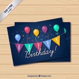 Tarjeta de cumpleaños azul oscura