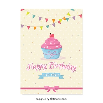 Tarjeta de cumpleaños bonita con pastelito