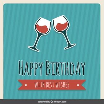 Tarjeta de cumpleaños con copas de vino