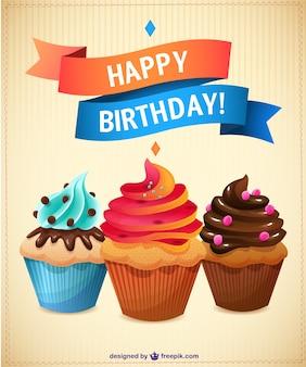 Tarjeta de cumpleaños con cupcakes