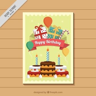 Tarjeta de cumpleaños con dulces y regalos