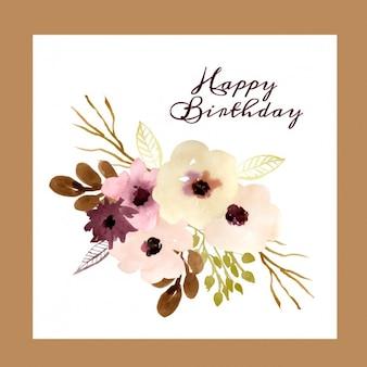 Tarjeta de cumpleaños con flores en acuarela
