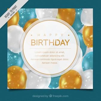 Tarjeta de cumpleaños con globos elegantes
