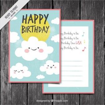 Tarjeta de cumpleaños con simpáticas nubes