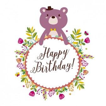 Tarjeta de cumpleaños con un oso y flores