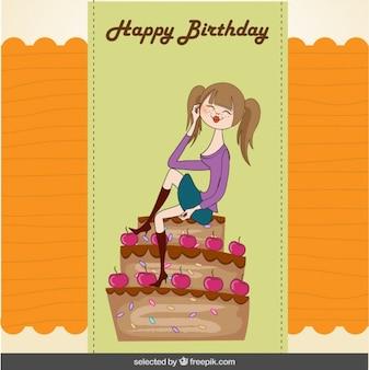 Tarjeta de cumpleaños con una chica sentada en la tarta