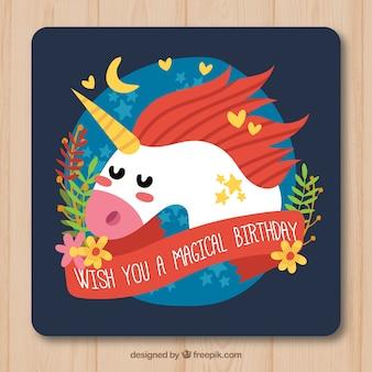 Tarjeta de cumpleaños con unicornio y flores