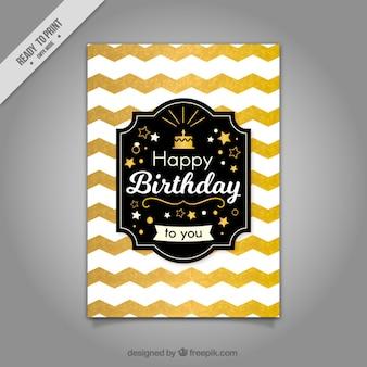 Tarjeta de cumpleaños con zigzag dorado