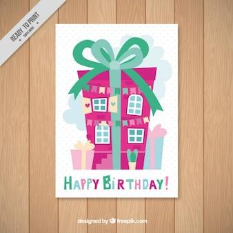 Tarjeta de cumpleaños de casa con forma de regalo
