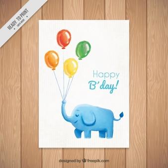 Tarjeta de cumpleaños de elefante de acuarela con globos