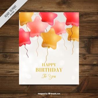 Tarjeta de cumpleaños de globos de forma de estrella