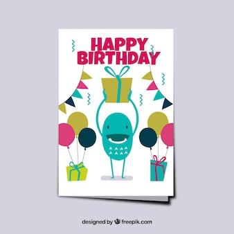 Tarjeta de cumpleaños de monstruo con globos