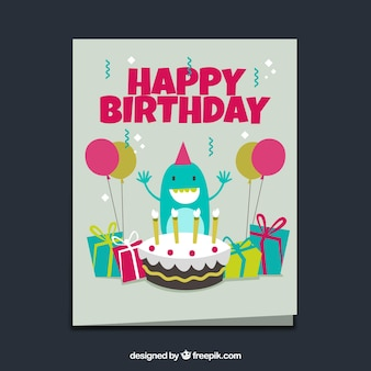 Tarjeta de cumpleaños de monstruo con tarta