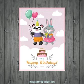 Tarjeta de cumpleaños de simpática pareja de animales