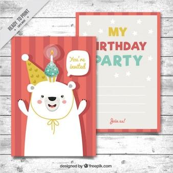 Tarjeta de cumpleaños de simpático oso dibujado a mano