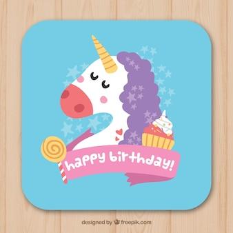 Tarjeta de cumpleaños de unicornio con dulces