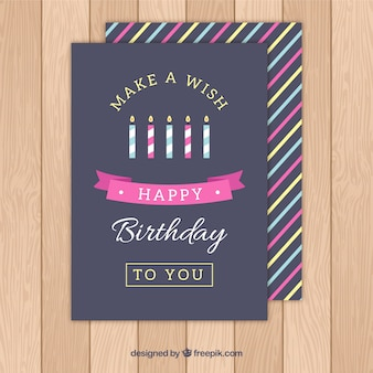 Tarjeta de cumpleaños de velas de colores