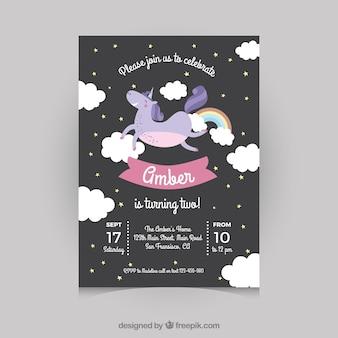 Tarjeta de cumpleaños negra con un unicornio