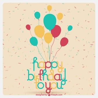 Tarjeta de cumpleaños con globos