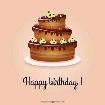 Tarjeta de cumpleaños feliz con tarta