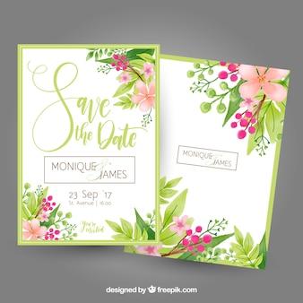 Tarjeta de despedida de soltera con flores y hojas