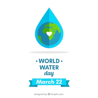 Tarjeta de Día Mundial del agua en diseño plano
