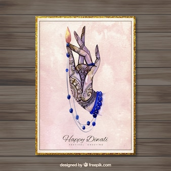 Tarjeta de Diwali con la mano pintada a mano
