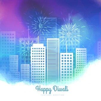 Tarjeta de Diwali con paisaje urbano en acuarela