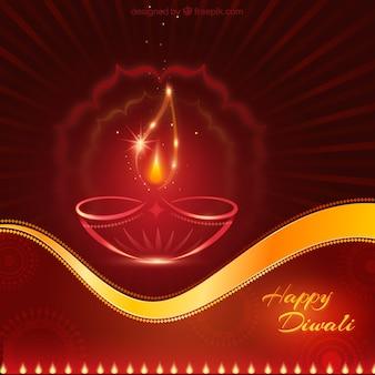 Tarjeta de Diwali roja y dorada