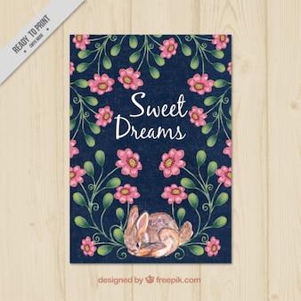 Tarjeta de dulces sueños de acuarela pintada a mano