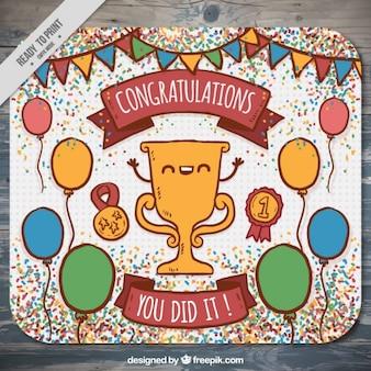 Tarjeta de enhorabuena dibujada a mano con simpático trofeo